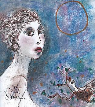 Young lady with bird in nest by Michael Sime