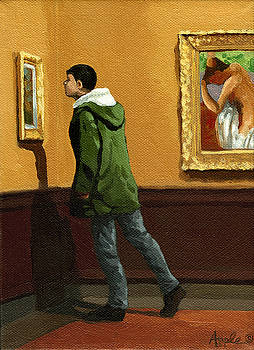 Young Man Viewing Art - painting by Linda Apple