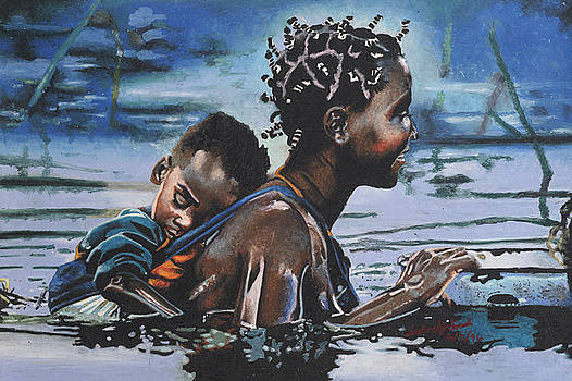 Young Mother and Child by Andre Ajibade