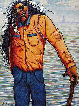 Young Veteran Visiting Miss Liberty by Joe  Triano