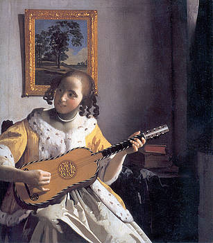 Johannes Vermeer - Young Woman Playing A Guitar