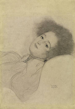 Young Woman Reclining by Gustav Klimt by Bishopston Fine Art