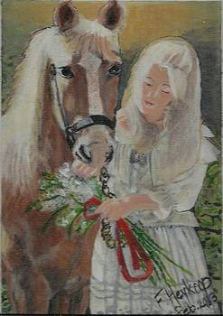 Young woman with horse by Francine Heykoop