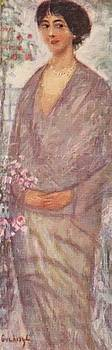 Young Woman With Rose Tree 1912 by Gulacsy Lajos