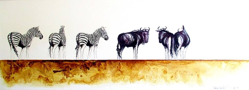Zebra and Wildebeest by Tracey Armstrong