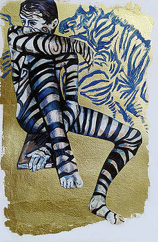 Zebra Boy the Lost Gold Drawing  by Rene Capone