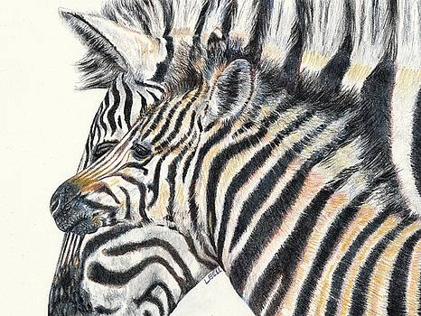 Zebra mare and foal by Leonie Bell
