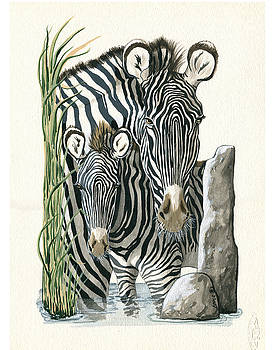 Zebra Mother and Colt Protect our Children painting by Linda Apple