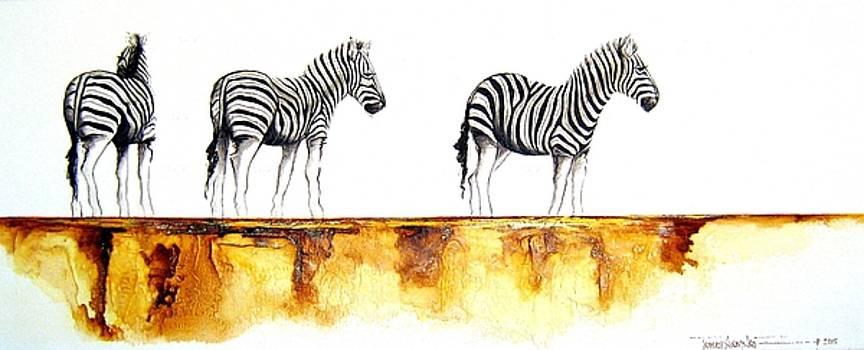 Zebra Trio - Original Artwork by Tracey Armstrong