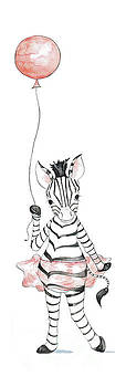 Zebra with Balloon by Annie Laurie