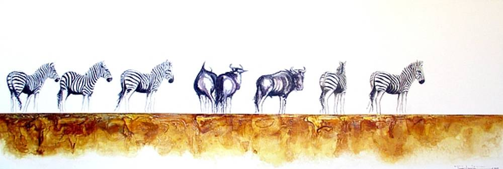 Zebras and Wildebeest 2 by Tracey Armstrong