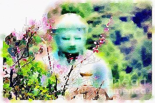 Zen Buddha and Flowers by Rich Governali