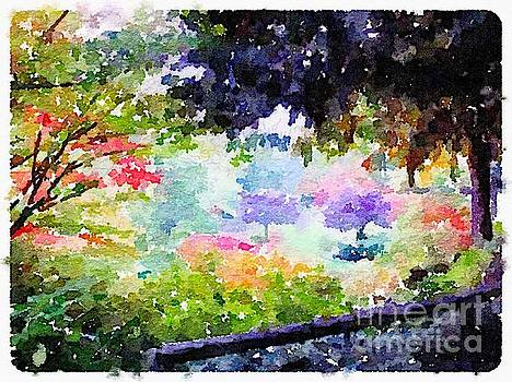 Rich Governali - Zen Garden with Purple Flowering Trees