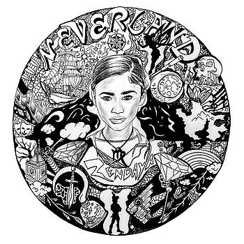 Zendaya's Neverland Black and White Drawing by Kenal Louis