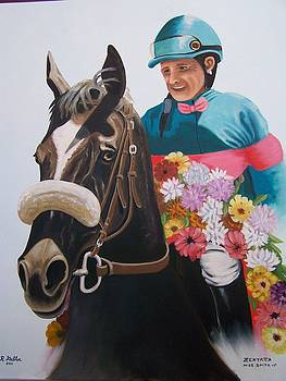 Zenyatta with Jockey Mike Smith by Robert E Gebler