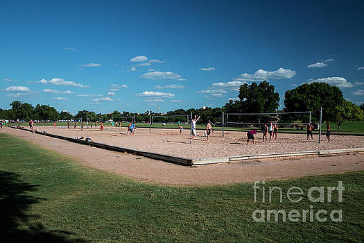 Herronstock Prints - Zilker Park is a favorite place for sports enthusiasts to play volleyball at the sand volleyball courts