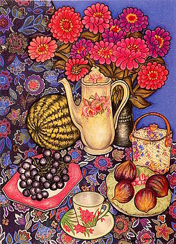 Zinnias, Grapes and Figs by Richard Lee