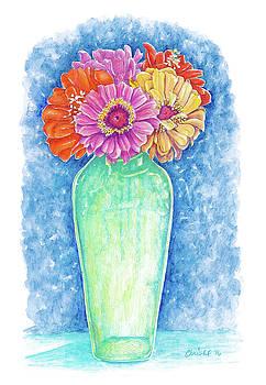Christel Huttar - Zinnias in a Green Vase