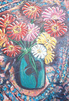 Zinnias in the Sun by Carolyn Donnell