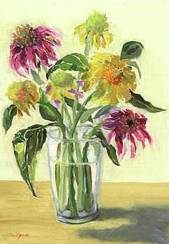 Zinnias in vase by Tai Yee