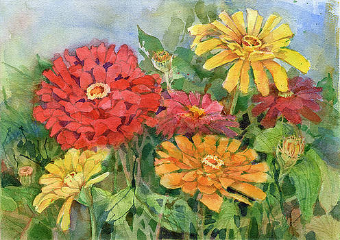 Zinnias by Garden Gate