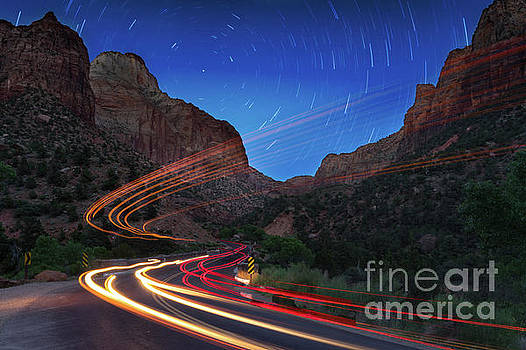Zion Light Trails by Jerry Fornarotto