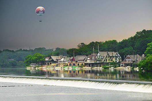 Zoo Balloon Flying over Boathouse Row by Bill Cannon