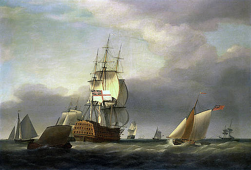 Francis Holman - A Seascape with Men-of-War and Small Craft
