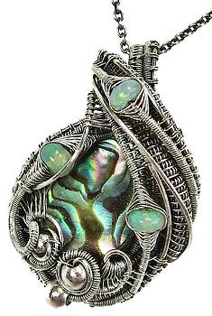 Abalone Pua Shell Wire-Wrapped Pendant in Antiqued Sterling Silver with Ethiopian Welo Opals by Heather Jordan