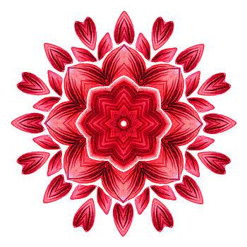 Abstract Watercolor Red Floral Mandala by Boriana Giormova