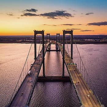 Aerial view of Delaware Memorial Bridge at dusk. by Mihai Andritoiu