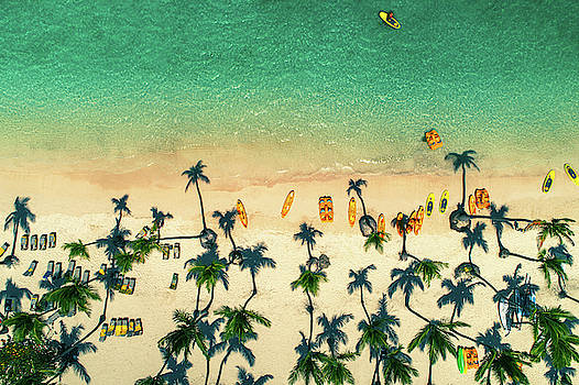 Aerial view of tropical beach, Dominican Republic by Valentin Valkov