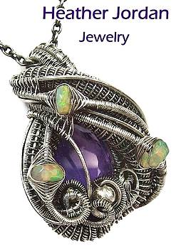 Amethyst Wire-Wrapped Pendant in Sterling Silver with Ethiopian Welo Opals by Heather Jordan
