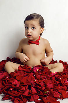Baby Boy Sitting On White Floor With Petals by Elena Saulich