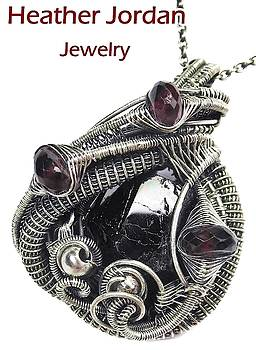 Black Tourmaline Wire-Wrapped Pendant in Antiqued Sterling Silver with Rhodolite Garnet  by Heather Jordan