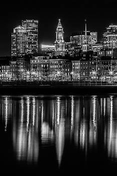Melanie Viola - BOSTON Evening Skyline of North End and Financial District - Monochrome