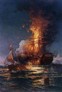 Edward Moran - Burning of the Frigate Philadelphia in the Harbor of Tripoli