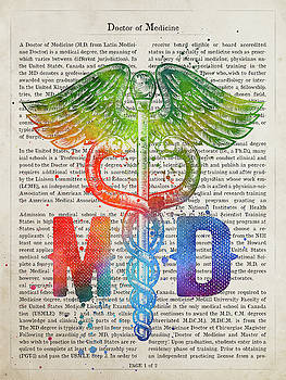 Caduceus Doctor of Medicine Gift Idea With Caduceus Illustration by Aged Pixel