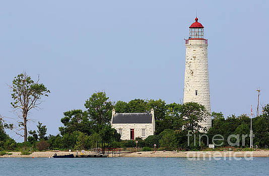 Chantry Island Lighthouse and Lightkeepers cottage on Lake Huron by Louise Heusinkveld