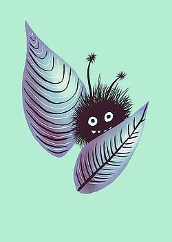 Cute Hairy Creature Hidden In Leaves  by Boriana Giormova