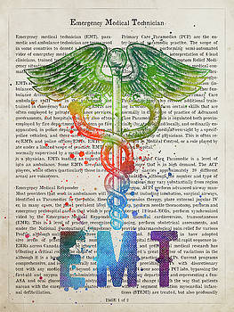 Emergency Medical Technician Gift Idea With Caduceus Illustratio by Aged Pixel