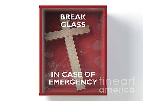 Emergency Red Box With Crucifix by Allan Swart