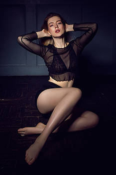 Fashionable Young Sexy Woman In Black Underwear And Shorts by Elena Saulich