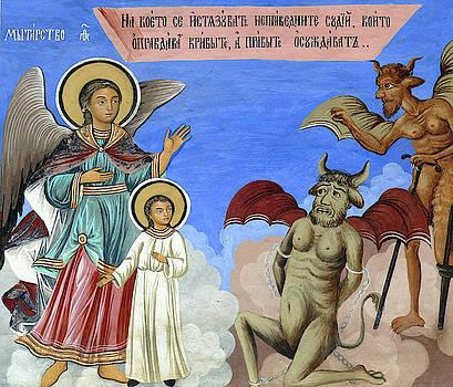Fresco of guardian angel protecting against the temptations of d by Steve Estvanik