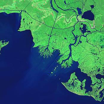 Growing Deltas in Atchafalaya Bay by NASA by Celestial Images