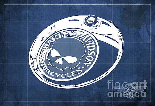 Harley Davidson Old Vintage Logo Fuel Tank Motorcycle Blue Background by Drawspots Illustrations