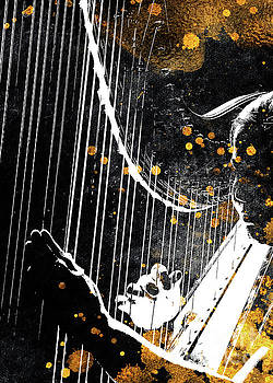 Harp music art gold and black  by Justyna Jaszke JBJart