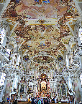 Interior View Of Basilica Birnau On Lake Constance In Germany by Richard Rosenshein