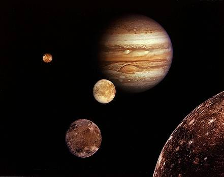 Jupiter and its four planet-size moons, called the Galilean satellites, by Celestial Images