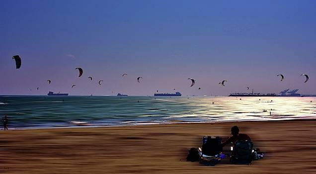 Kite Surfers by John R Williams